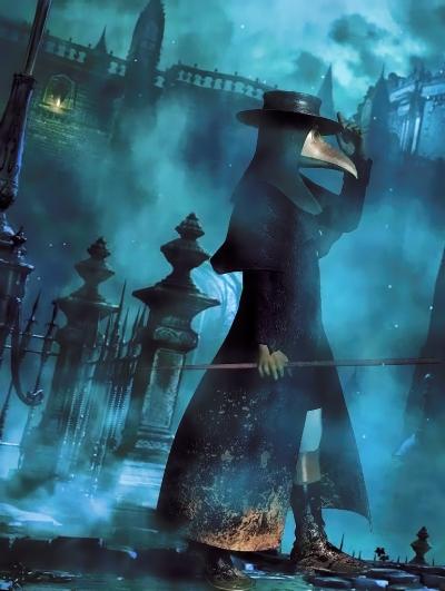 Plague doctor walking throgh the Edinburgh streets.