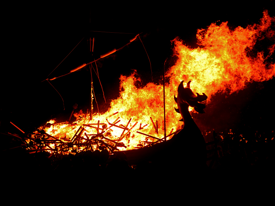 The burning Viking longboat at Up Helly Aa fire festival, Shetland.