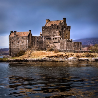 Haunted Eilean Donan Castle on the banks on Loch Duich.