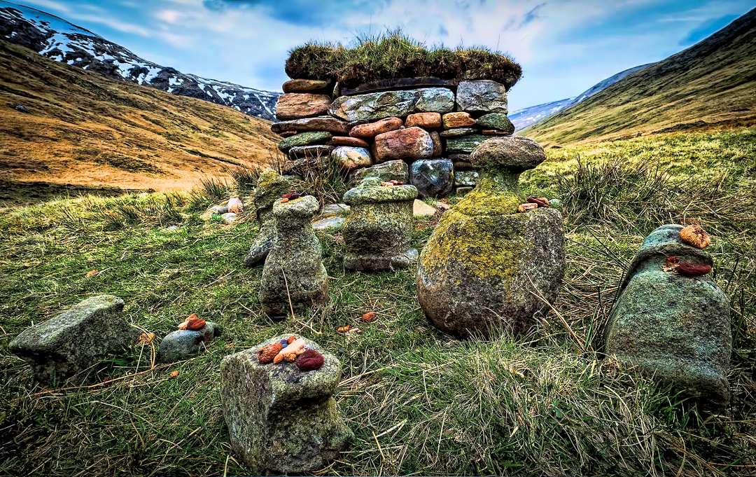 The stones represent the Cailleach, her husband the Bodach and their children