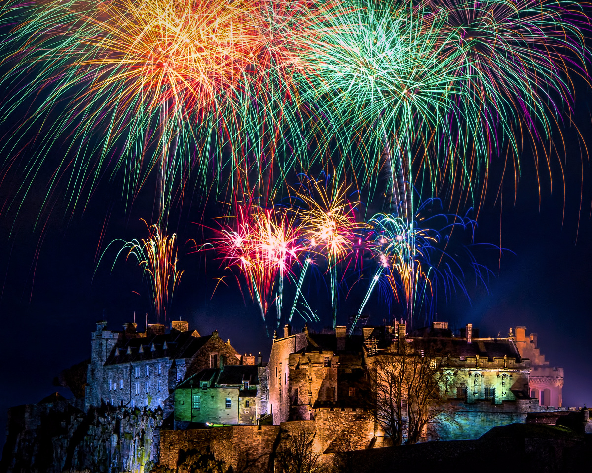 Hogmanay fireworks over Stirling Castle